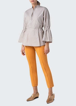 Akris Punto Zip-Front Bell-Sleeve Cotton Poplin Blouse