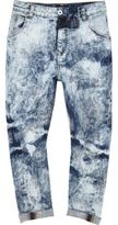 River Island Boys light Blue extreme bleach slouch jeans
