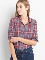 Plaid denim shirt