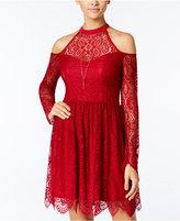 Trixxi Juniors' Cold-Shoulder Lace Dress