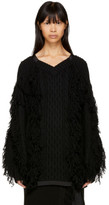 Sacai Black Fringed V-neck Sweater