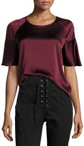 A.L.C. Lisa Crewneck Short-Sleeve Satin Blouse