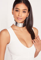 Missguided Metal Plate Choker Necklace Silver
