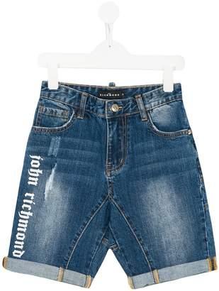 John Richmond Junior logo print denim shorts