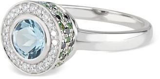 Black Diamond Ri Noor Diamond Aquamarine Tsavorite & Ring