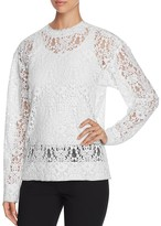 DKNY Sheer Flocked Lace Pullover