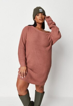 Missguided Plus Size Rose Waffle Off The Shoulder Sweater Dress