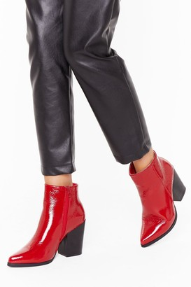 Nasty Gal Womens Save Your Soul Faux Leather Patent Boots - red - 3