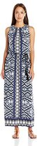 London Times Women's Plus-Size Sleeveless Printed Blouson Maxi Dress with Tassle Tie Belt