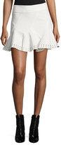 Derek Lam 10 Crosby Stretch Twill Eyelet Skirt, White
