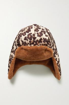 Fendi Shearling-trimmed Leopard-print Shell Hat - Leopard print