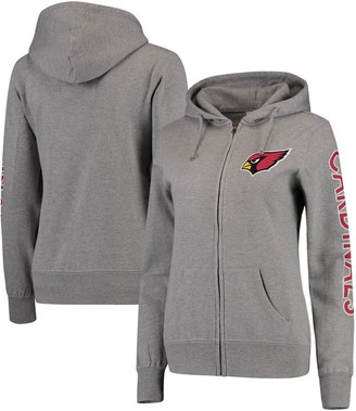 Women's Heathered Gray Arizona Cardinals Extra Point Two-Hit Full-Zip Hoodie