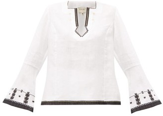 Zeus + Dione - Tangara Embroidered Linen Top - Womens - White