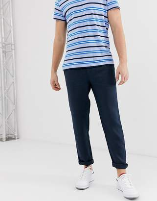 Selected tapered smart linen trouser in navy