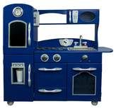 Teamson Kids Retro Wooden Play Kitchen - Navy Blue