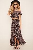 Forever 21 FOREVER 21+ Wrap-Front Floral Print Maxi Skirt
