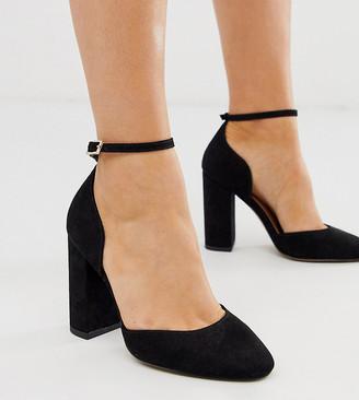 ASOS DESIGN Wide Fit Pleasant high block heels in black