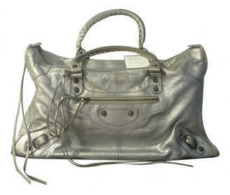 Balenciaga Work Silver Leather Handbags
