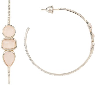 Latelita Venice Gemstone Hoop Earring Silver Rose Quartz