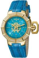 Roberto Cavalli Women's Rc-4 Automatic Blue Leather Strap Watch.