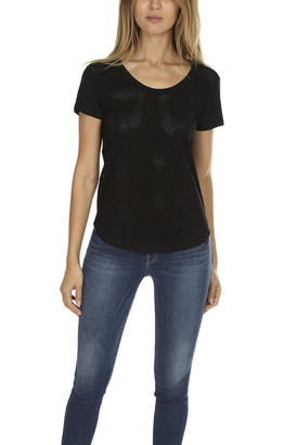 Majestic Filatures Leather Scoop Neck Tee