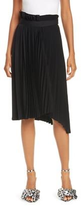 Balenciaga Logo Belt Asymmetrical Pleated Skirt