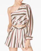 J.o.a. Cotton Striped One-Shoulder Top