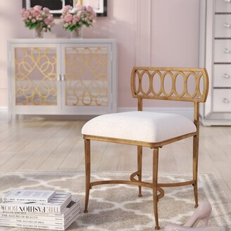 Scates Vanity Stool Mercer41 Frame Color: Golden Bronze
