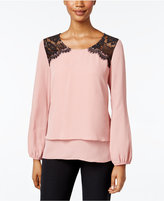 NY Collection Petite Layered-Look Lace Blouse