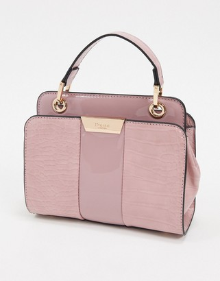 Dune diniliza textured highshine structured shoulder bag