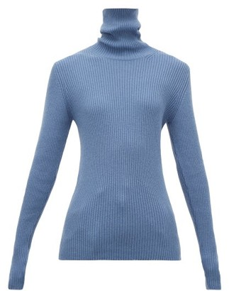 Hillier Bartley Ribbed Roll-neck Cashmere Sweater - Womens - Blue