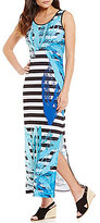 Chelsea & Theodore Stripe and Floral Maxi Dress