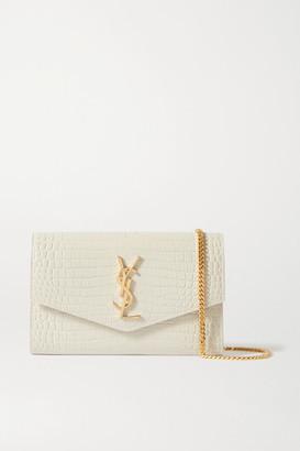 Saint Laurent Uptown Croc-effect Patent-leather Shoulder Bag - Off-white