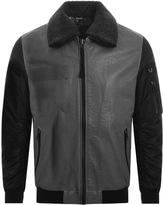 True Religion Leather Jacket Grey