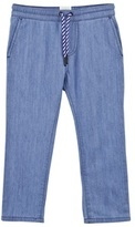 Carrement Beau Blue Chambray Trousers with Stripe Drawcord