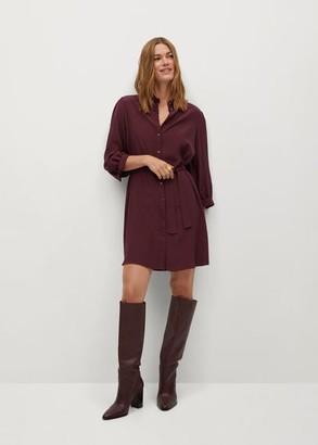 MANGO Belt shirt dress maroon - 2 - Women