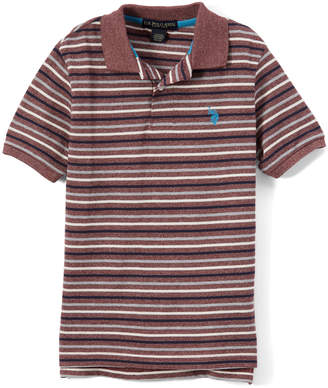 U.S. Polo Assn. Boys' Polo Shirts Marled - Marled Burgundy Stripe Polo - Toddler