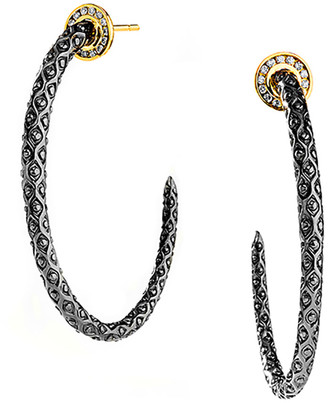 Syna Mogul Silver & Gold Hoop Earrings with Champagne Diamonds