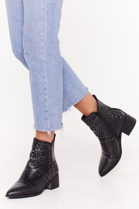 Nasty Gal Womens Forever Misunder-stud Faux Leather Ankle Boots - Black
