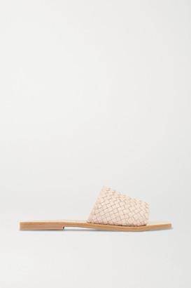 ST. AGNI Alice Woven Leather Slides - Cream