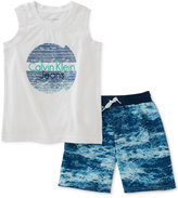 Calvin Klein 2-Pc. Graphic-Print Tank Top & Shorts Set, Toddler & Little Boys (2T-7)