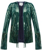 Galvan Winter Jungle Fringed Sequinned Jacket - Womens - Dark Green