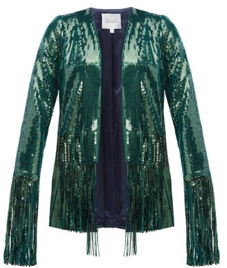 Galvan Winter Jungle Fringed Sequinned Jacket - Dark Green