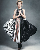 Proenza Schouler Pleated Crisscross Foil Dress