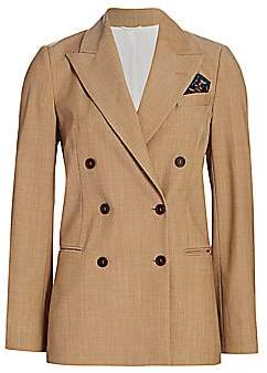 Brunello Cucinelli Women's Stretch-Wool Double Breasted Jacket