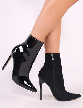 Public Desire Yuri Patent and Faux Suede Pointed Toe Ankle Boots