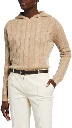 Ralph Lauren Collection Cable-Knit Hooded Cashmere Sweater