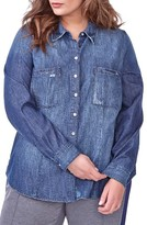 Plus Size Women's Addition Elle Love And Legend Denim Shirt
