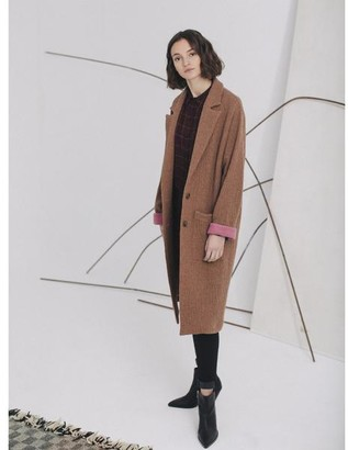 Sita Murt Camel Wool Coat With Pink Cuffs - 36