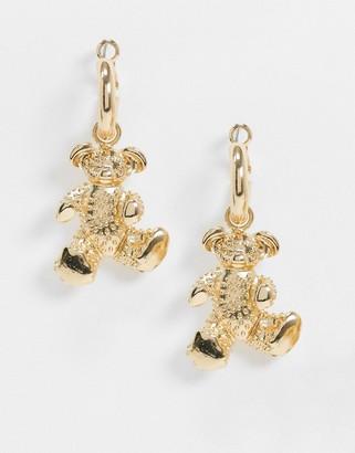 ASOS DESIGN hoop earrings with teddy bear charm in gold tone